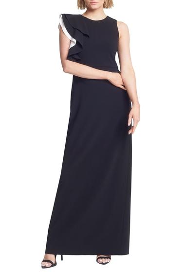 Imbracaminte Femei Halston Heritage Contrast Ruffle Sleeve Crepe Sheath Gown BLACKCHALK