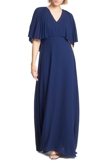 Imbracaminte Femei Halston Heritage Pleated Cape Sleeve Georgette Gown DARK NAVY