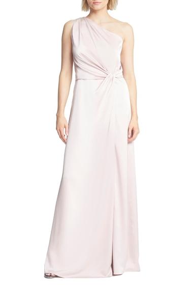 Imbracaminte Femei Halston Heritage Twist Waist One Shoulder Satin Sheath Gown ROSE CLOUD