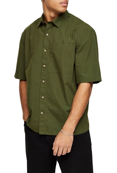 Imbracaminte Barbati TOPMAN Oversize Short Sleeve Button-Up Shirt OLIVE
