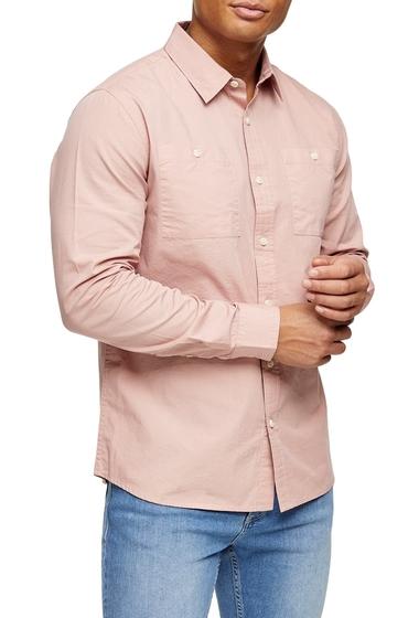Imbracaminte Barbati TOPMAN Slim Fit Ripstop Button-Up Shirt PINK