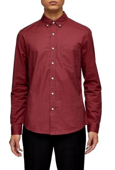 Imbracaminte Barbati TOPMAN Skinny Fit Stretch Button-Down Oxford Shirt BURGUNDY