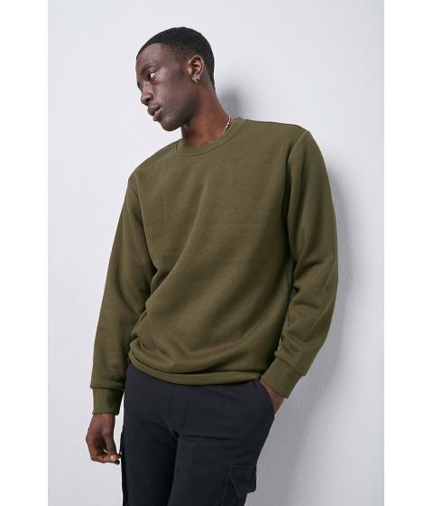 Imbracaminte Barbati Forever21 Crew Neck Fleece Sweatshirt OLIVE