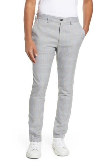 Imbracaminte Barbati TOPMAN Check Stretch Super Skinny Chino Pants LIGHT BLUE