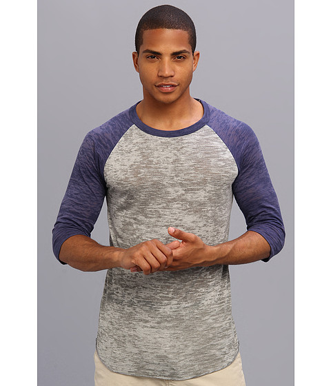 Imbracaminte Barbati Alternative Apparel Big League Burnout Baseball Tee Grey HeatherNavy