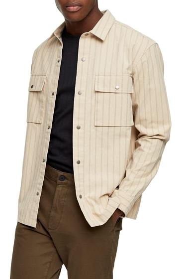 Imbracaminte Barbati TOPMAN Pinstripe Overshirt STONE