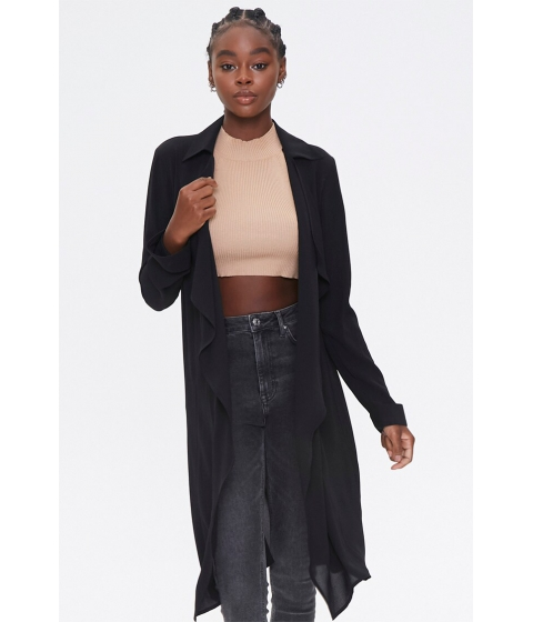 Imbracaminte Femei Forever21 Crepe Drape-Front Trench Jacket BLACK