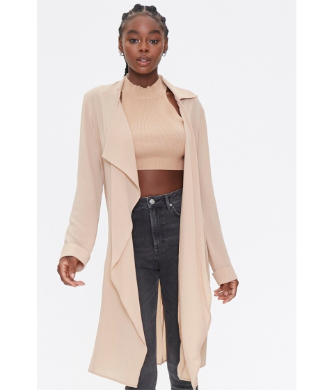 Imbracaminte Femei Forever21 Crepe Drape-Front Trench Jacket TAUPE
