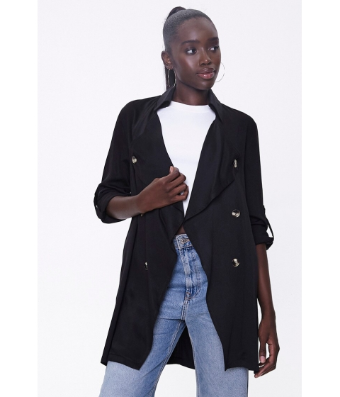 Imbracaminte Femei Forever21 Double-Breasted Duster Jacket BLACK