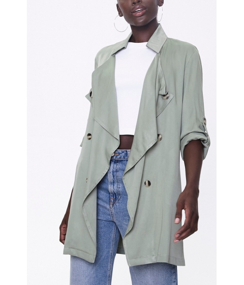 Imbracaminte Femei Forever21 Double-Breasted Duster Jacket OLIVE