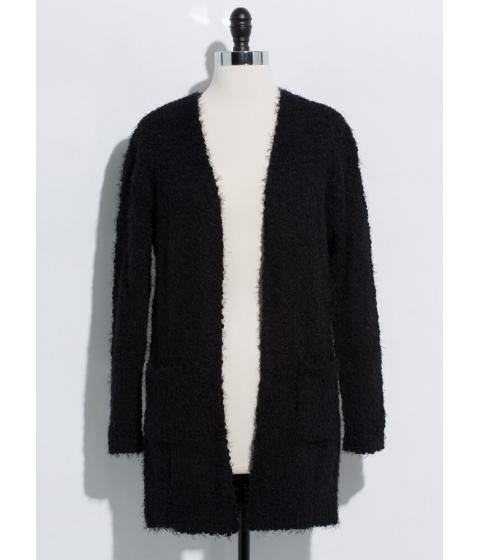 Imbracaminte Femei CheapChic Long For Warmth Fuzzy Knit Cardigan Black