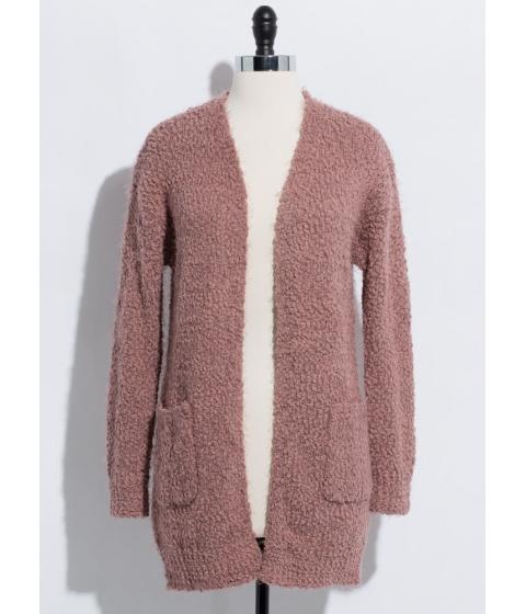 Imbracaminte Femei CheapChic Long For Warmth Fuzzy Knit Cardigan Mauve