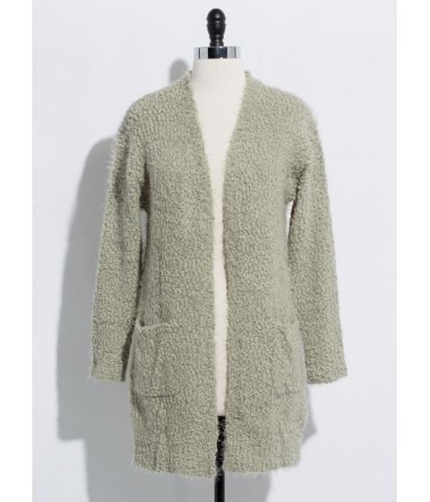 Imbracaminte Femei CheapChic Long For Warmth Fuzzy Knit Cardigan Moss