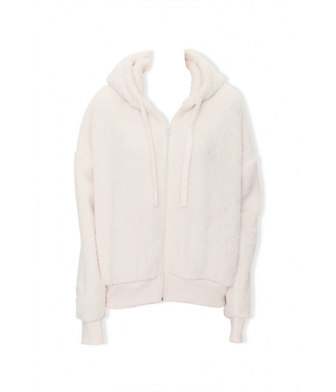 Imbracaminte Femei Forever21 Plush Zip-Up Hoodie CREAM