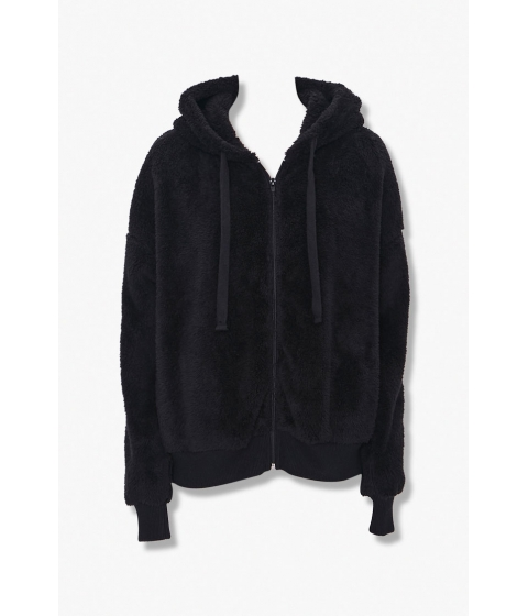 Imbracaminte Femei Forever21 Plush Zip-Up Hoodie BLACK