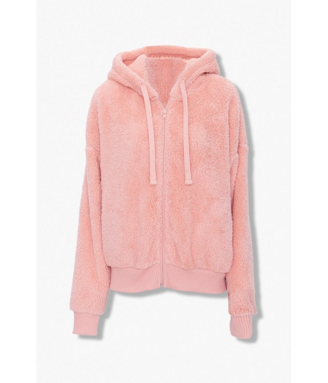 Imbracaminte Femei Forever21 Plush Zip-Up Hoodie BLUSH