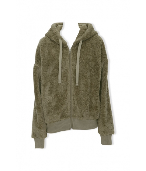 Imbracaminte Femei Forever21 Plush Zip-Up Hoodie OLIVE