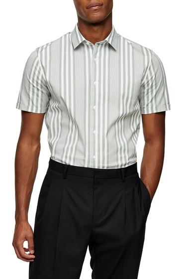 Imbracaminte Barbati TOPMAN Stripe Slim Fit Short Sleeve Button-Up Shirt OLIVE MULTI