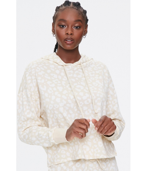 Imbracaminte Femei Forever21 French Terry Leopard Hoodie TANCREAM