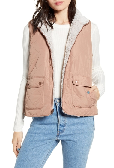 Imbracaminte Femei THREAD AND SUPPLY Wubby Reversible Fleece Lined Quilted Vest MOCHA