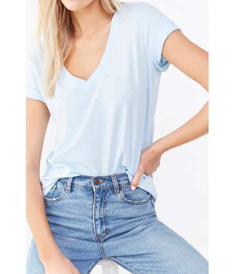 Imbracaminte Femei Forever21 Basic V-Neck Tee LIGHT BLUE