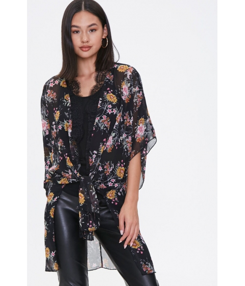 Imbracaminte Femei Forever21 Floral Print Lace-Trim Kimono BLACKMULTI