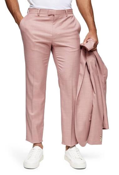 Imbracaminte Barbati TOPMAN Dax Slim Fit Flat Front Ankle Trousers PINK