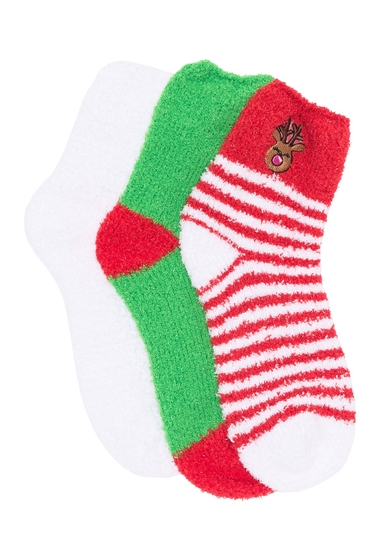 Imbracaminte Femei Betsey Johnson Reindeer Fuzzy Socks - Pack of 3 RED MULTI