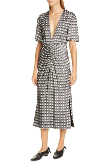 Imbracaminte Femei Proenza Schouler V-Neck Cap Sleeve Jacquard Dress BLACKECRU