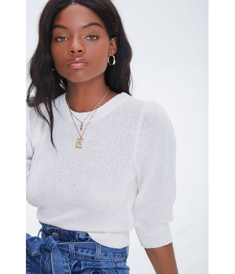 Imbracaminte Femei Forever21 Textured Puff Sleeve Sweater IVORY