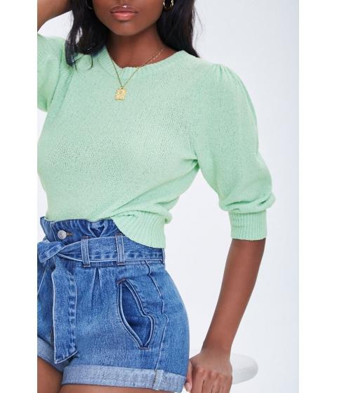 Imbracaminte Femei Forever21 Textured Puff Sleeve Sweater MINT