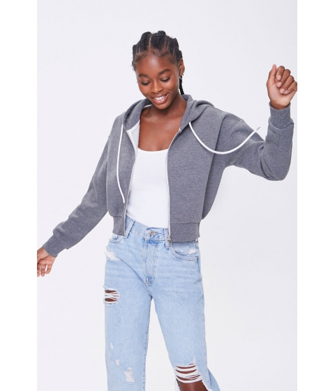 Imbracaminte Femei Forever21 Basic Fleece Zip-Up Hoodie CHARCOAL