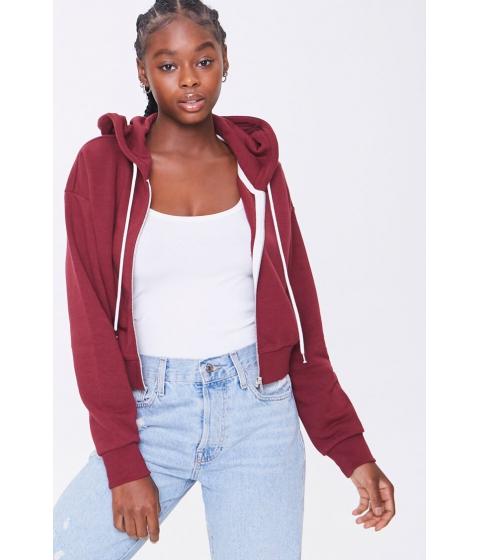 Imbracaminte Femei Forever21 Basic Fleece Zip-Up Hoodie BURGUNDY