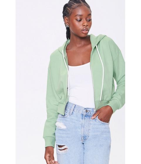 Imbracaminte Femei Forever21 Basic Fleece Zip-Up Hoodie PISTACHIO