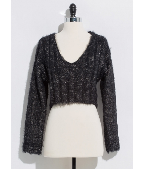 Imbracaminte Femei CheapChic It Sparkles Cropped Fuzzy Knit Sweater Black
