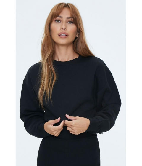 Imbracaminte Femei Forever21 Fleece Drop-Sleeve Sweatshirt BLACK