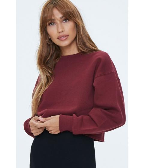 Imbracaminte Femei Forever21 Fleece Drop-Sleeve Sweatshirt BURGUNDY