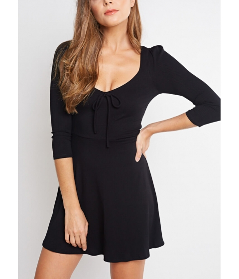 Imbracaminte Femei CheapChic Bow-so-cute Ribbed Fit-and-flare Dress Black