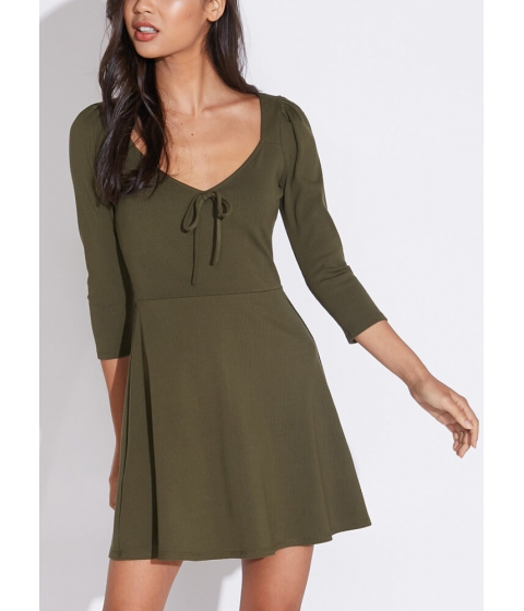Imbracaminte Femei CheapChic Bow-so-cute Ribbed Fit-and-flare Dress Olive