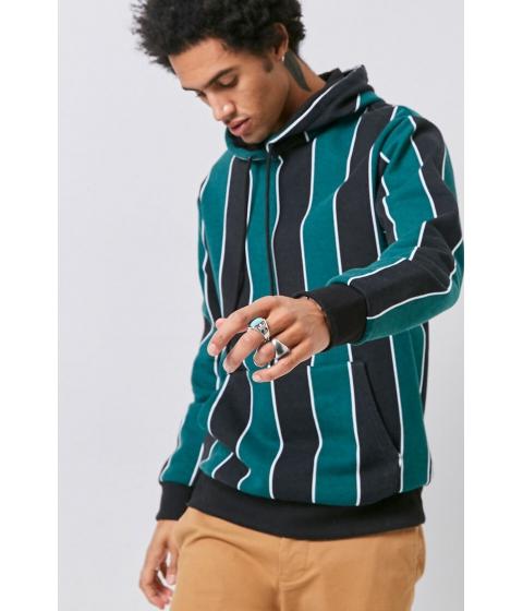 Imbracaminte Barbati Forever21 Striped Fleece Hoodie BLACKGREEN