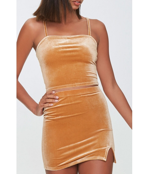 Imbracaminte Femei Forever21 Velvet Cropped Cami GOLD