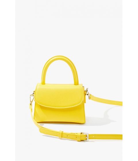 Genti Femei Forever21 Mini Faux Leather Crossbody Bag YELLOW