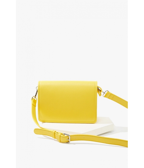 Genti Femei Forever21 Pebbled Faux Leather Crossbody Bag YELLOW