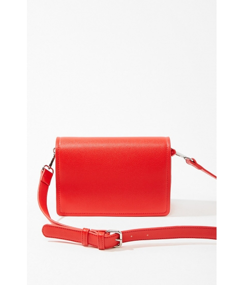 Genti Femei Forever21 Pebbled Faux Leather Crossbody Bag RED