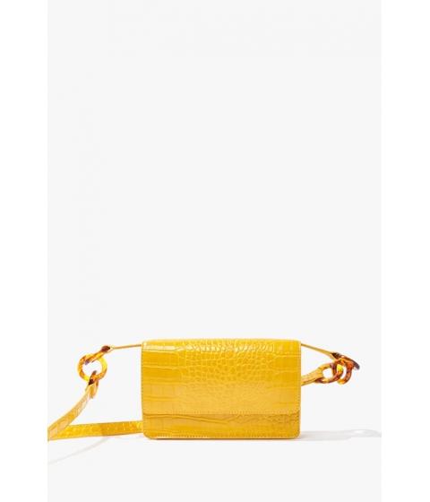 Genti Femei Forever21 Faux Croc Leather Crossbody Bag YELLOW