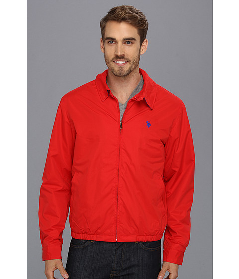 Imbracaminte Barbati US Polo Assn Micro Golf Jacket w Polar Fleece Lining Engine Red