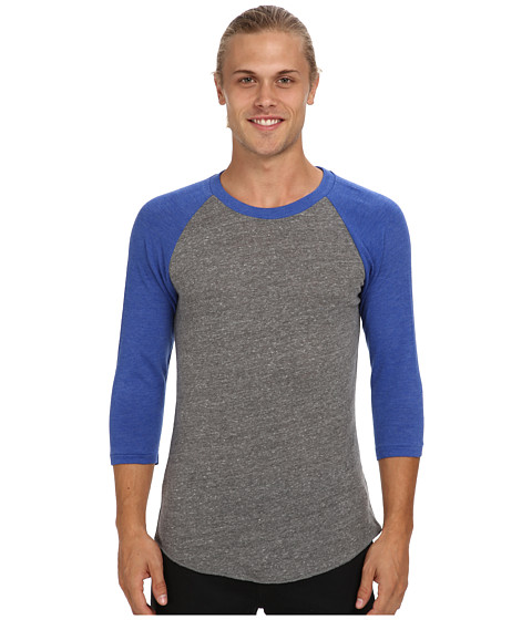 Imbracaminte Barbati Alternative Apparel Baseball Tee Eco GreyEco True Pacific Blue