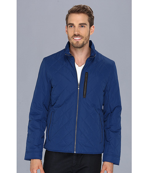 Imbracaminte Barbati Cole Haan Quilted Jacket w Leather Details Blue