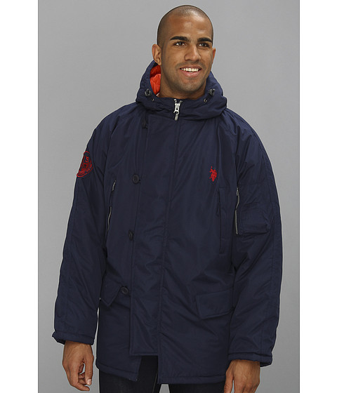 Imbracaminte Barbati US Polo Assn Long Snorkel Jacket Classic Navy