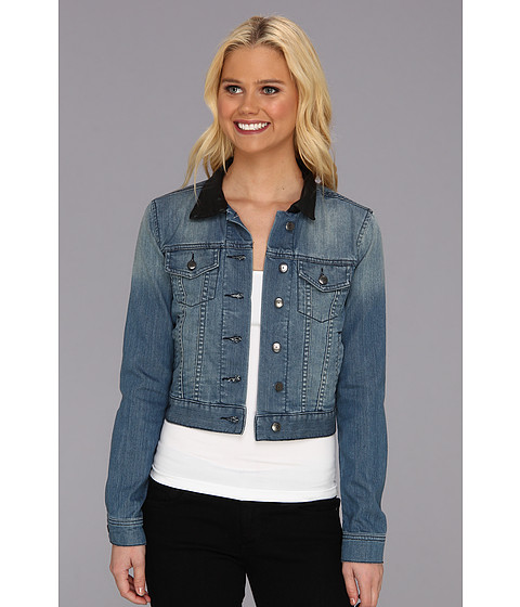 Imbracaminte Femei BCBGeneration Cropped Denim Jacket w Leather Collar Not So Blue